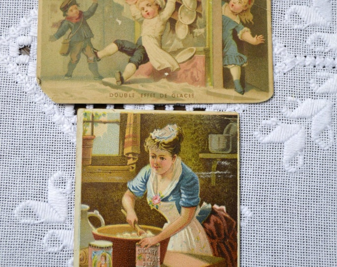 Victorian Trade Card Set of 2 Stickney & Poors Double Effet de Glaces PanchosPorch