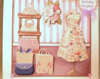 Personalised Handmade Large Birthday Card, Daughter,21st, Fashion ,Elegant, 3D, Decoupage