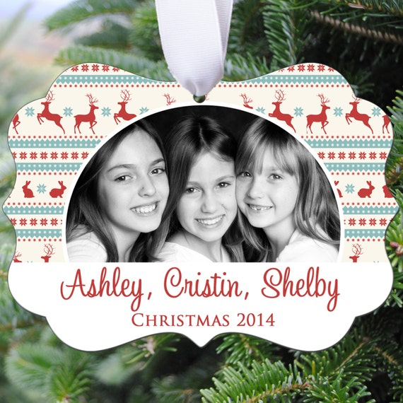 Personalized Photo Christmas Ornament - Christmas Reindeer Design - Double Sided - Aluminum