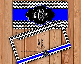 Black And White Chevron License Plate Or Frame Monogrammed - Royal Monogram Chevron Car Tag Chevron Bike Accessory