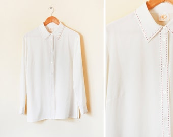 25% OFF - Vintage long sleeve cream blouse with red stitched collar and placket