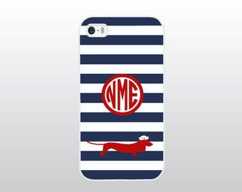 Nautical iPhone Case with Dachshund Doxie Dog - iPhone 4 4S, iPhone 5 5S 5C - Navy Striped iPhone with Red - Monogrammed Gift for Dog Lover