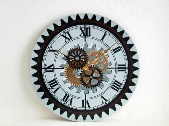 horloge murale sur vinyle lp avec steampunk engrenages d cor. Black Bedroom Furniture Sets. Home Design Ideas