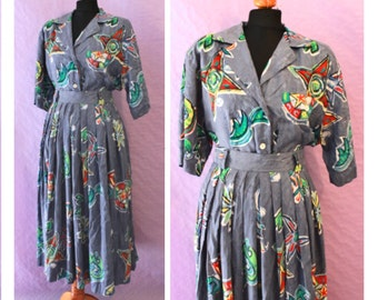 Vintage dress skirt blouse Gerry Weber 80s 50s style abstract medium size