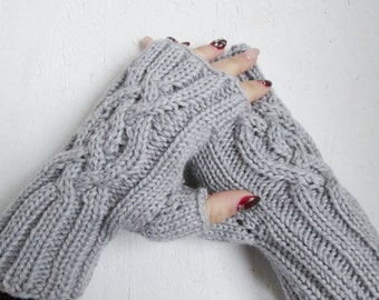 READY TO SHIP, fingerless gloves,Knitted Handmade, gray Merino wool gloves, Half Gloves with Cable