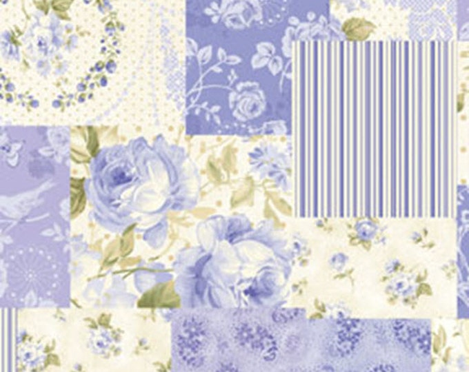Half Yard Ellie Ann - Collage in Blue -Romantic Floral Cotton Quilt Fabrics- Eleanor Burns for Benartex Fabrics - 1230-52 (W2340)