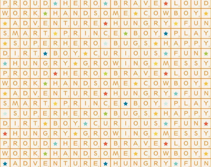 Half Yard Fun and Games - Words in Orange - Cotton Quilt Fabric - C3382-ORANGE - Lori Whitlock for Riley Blake Designs (W2439)