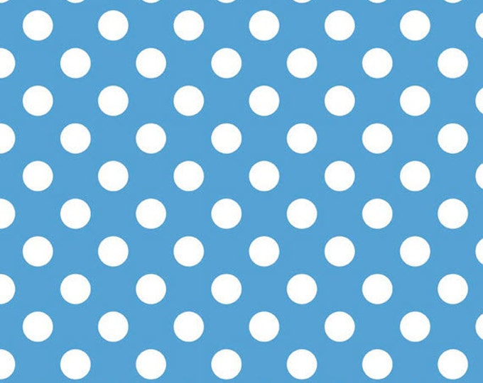 One Yard Medium Dots - White Dots on Medium Blue - Cotton Quilt Fabric - C360-22 - Riley Blake Designs (W2481)