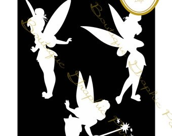 white silhouette tinkerbell trilly disney