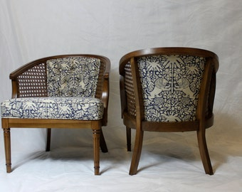 Awesome SOLD Vintage Cane Barrel Chairs In Navy And White