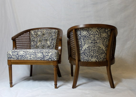 Like this item? - SOLD-Vintage Cane Barrel Chairs In Navy And White