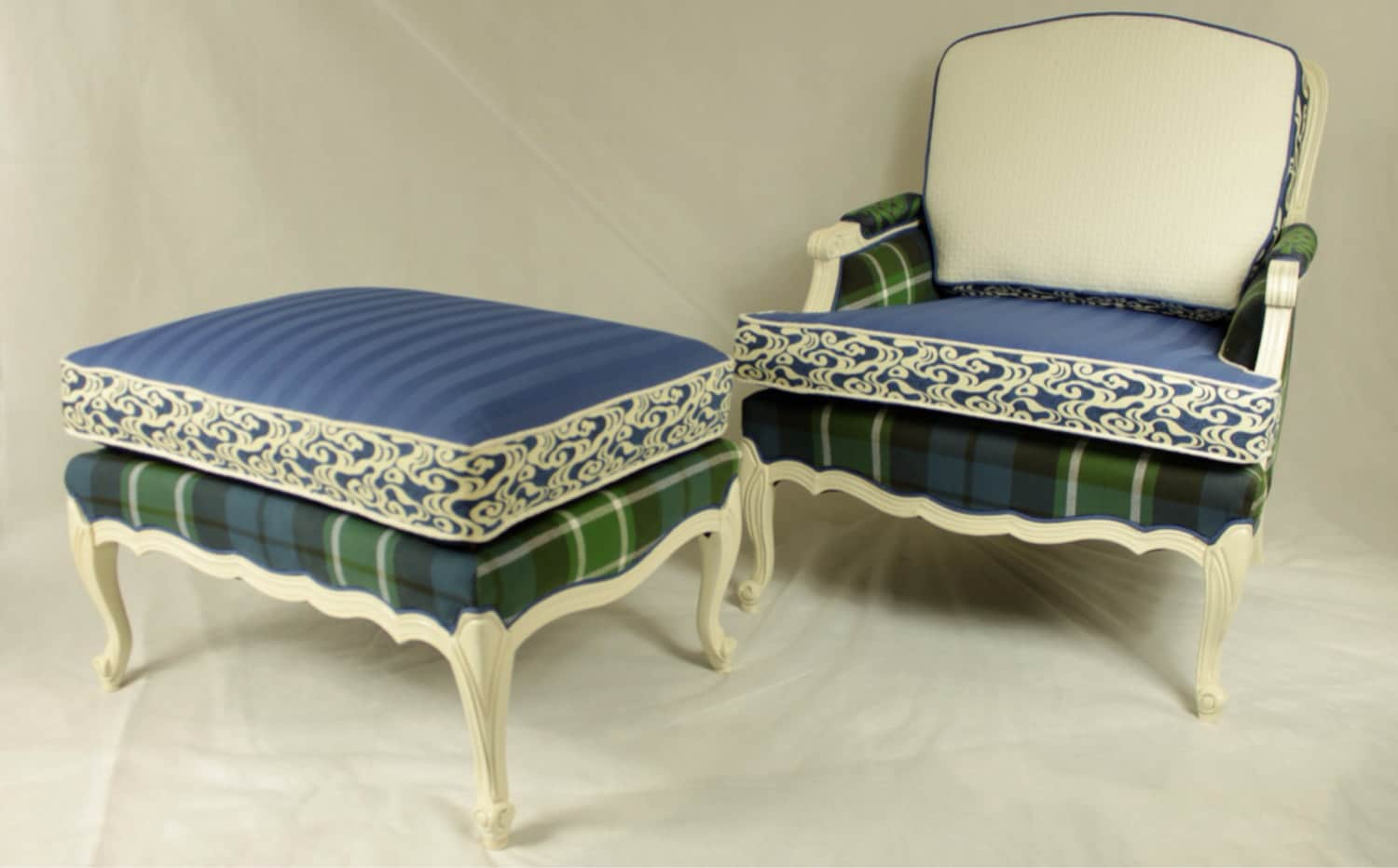 sold vintage patchwork french bergere arm chair and ottoman. Black Bedroom Furniture Sets. Home Design Ideas