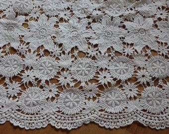 Beige Cotton Crochet Fabric, Antique Embroidery Cotton Lace Fabric, Garment Curtains Fabric Supply