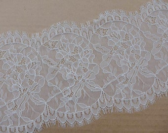 Delicate chantilly lace scallop trim in white for wedding veil, cap, mantilla border lace