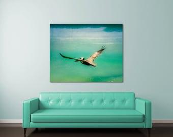 Beach canvas art, retro beach decor, beach photography, mid century wall art, Florida photography, large beach art ocean, pelican art