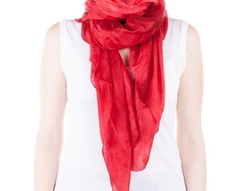 Bright red silk scarf /  magnificent fire red shawl   /  large red  silk veil / Hand dyed / 100% habotai silk