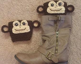 Crochet toddler through adult monkey  boot cuffs