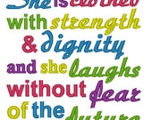 Instant Download: She is Clothed with Strength and Dignity and She Laughs Without Fear of the Future Embroidery Design, 5x7 Only