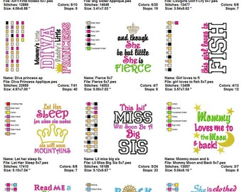 Embroidery Bundle : Just for Girls Sayings Large Embroidery Design Collection III, 5x7 ONLY Instant Download