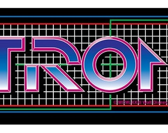 Tron Arcade Video Game Marquee 12x36 Poster