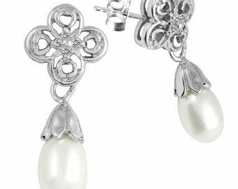 Sterling Silver Drop Pearl Earrings (DropPearlEarrings-SS) ss