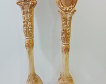 Vintage Chalk Ware Fork and Spoon Wall Plaques, Gold & Tan Plaster, Hollywood Regency, Retro, Renaissance Kitchen Decor.