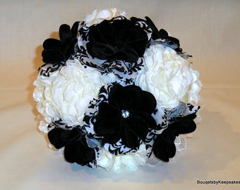 Wedding Bouquet Bridal Fabric Shabby Chic Black And White