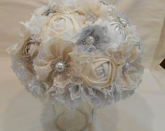 Wedding Bouquet, Bridal Bouquet, Fabric Bouquet, Lace Bouquet, Fabric Bouquet, Ivory and Champagne Roses with Silver