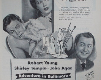 Vintage print ad from 1940's for R K O Radio Picture Adventure in Baltimore