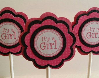 BABY GIRL Cupcake Toppers - It's a Girl Cupcake Toppers - Baby Shower Cupcake Toppers Set of 12