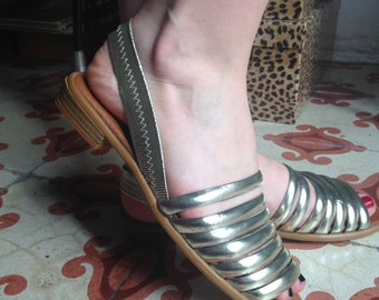 1960s Deadstock Golden Strappy Sandals available in two sizes