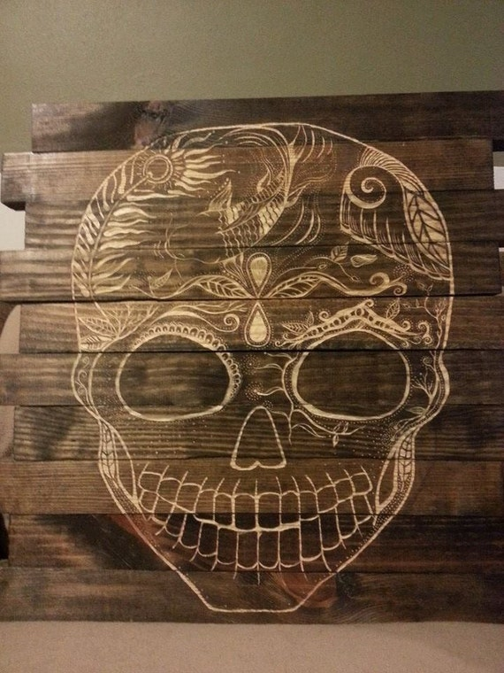 Sugar skull wood carving by thehappymiddle on etsy