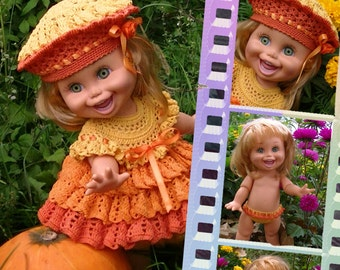 Doll Pattern Crochet Pumpkin for Galoob Baby Face dolls By Kasatka Fashion