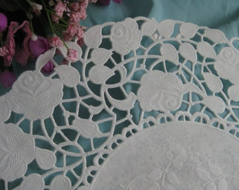 """10"""" inch Off White Ivory ROSE LACE  Paper  Doily 20 Pcs Round  DIYS Wedding  Invitations Crafts  Wraps"""