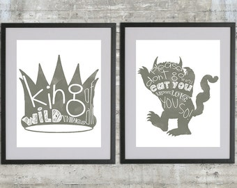 Where The Wild Things Are Print - Set of 2 11x14 Prints in Charcoal Gray