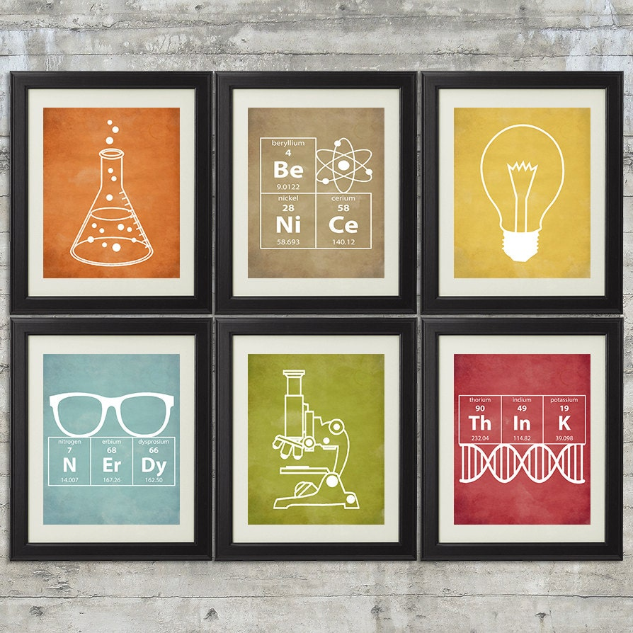 Nerdy science art set of 6 8x10 instant download for 8x10 bedroom ideas
