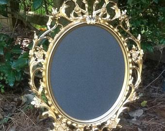Large Gold Oval Ornate Baroque Chalkboard Frame / Framed Chalk Board