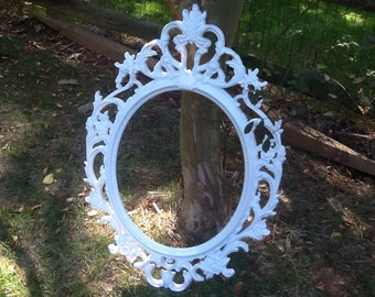 Wedding Photo Booth Prop / White Oval Ornate Frame / Large Open Back Gallery Frame / Photo Prop