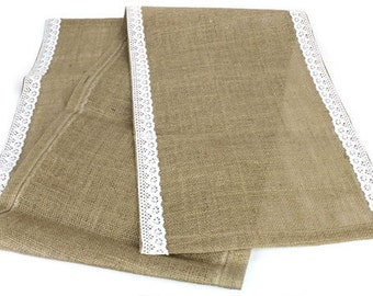 "Burlap Table Runner W/Lace Edge - White (16"" x 72"")"