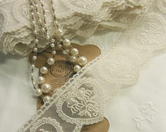1 yd Vintage Style Embroidery Tulle Lace Trim Double Edged Heart