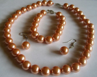 Black Friday Sale: 12mm Peach/Orange Pearl Necklace plus Bracelet plus Earrings, Peach Pearls Jewelry Set- Shell Pearl Necklace