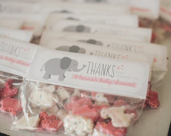 Printable Favor Tags - Pink and Gray Elephant Baby Shower - Customizable
