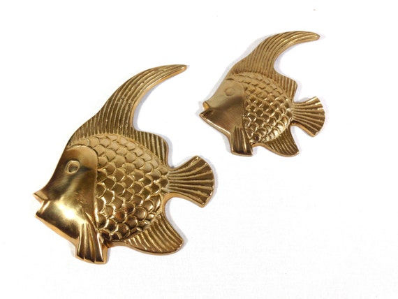 Vintage Solid Brass Angel Fish Wall Hangings Tropical Fish Wall Decor /  Ocean Sea Life /