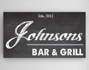 Homebar Sign, Personalized Bar Sign,  Gifts for Him, Husband Gifts, Chalkboard Sign, Bar & Grill Sign - CA023