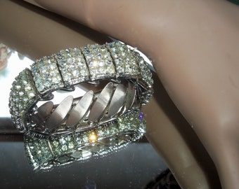 Made in Hong Kong Signed Antique Silver Plated Rhinestone Expansion Bracelet  1 inch wide