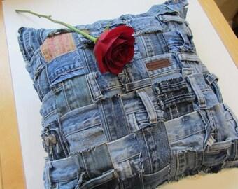 Blue Jean Waistband Pillow