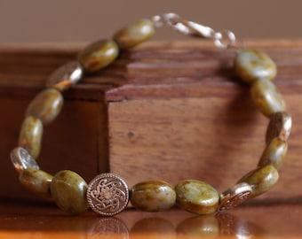 Bracelet, Czech Bead Bracelet, Silver Charm Bracelet, Silver Bracelet, Green Bracelet, Green Beaded Bracelet