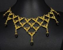 Natural Garnet Necklace Etruscan Byzantine Style 925 Sterling Silver 22K Gold Plated Greek Handmade Art Big Luxury