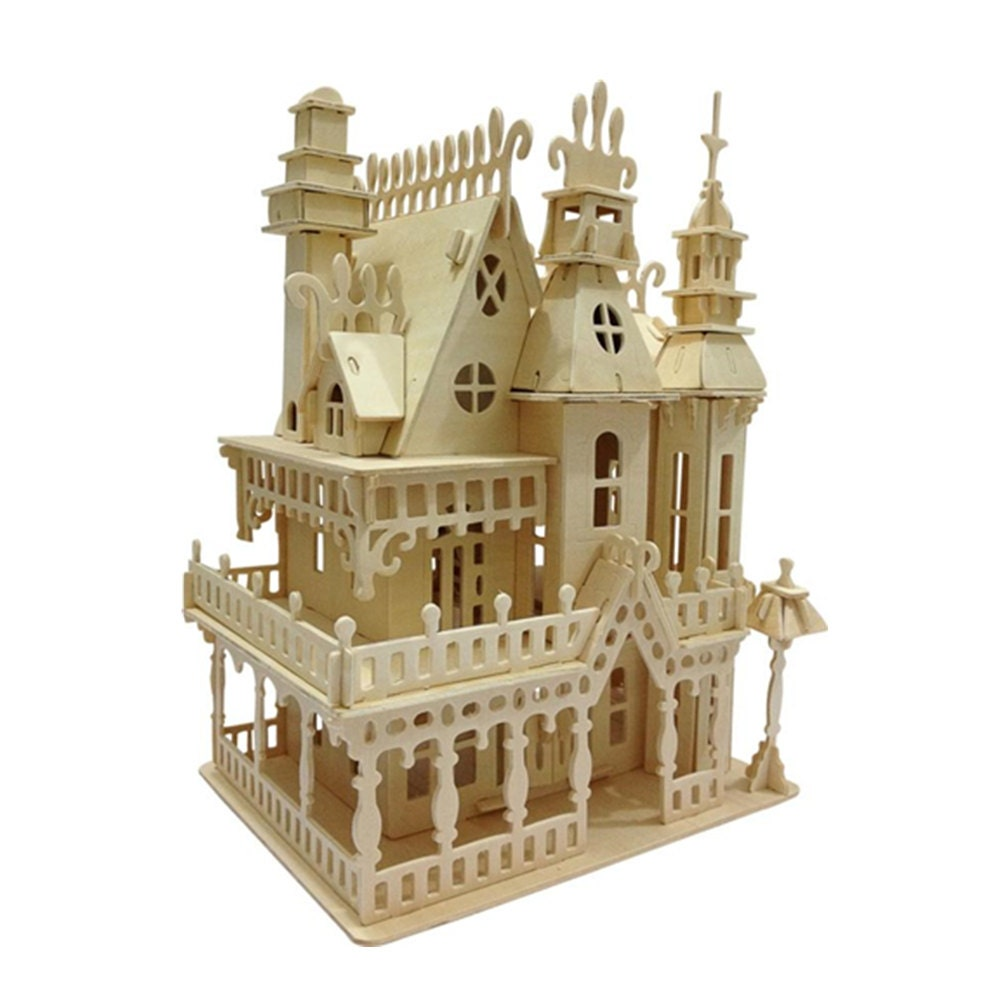 Miniature dollhouse 3d wooden puzzle house model diy toy house for Mini wooden house