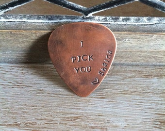 Personalized Copper Guitar Pick - I Pick You - Personalized Gift For Dad - Gift For Him - Groom Groomsmen